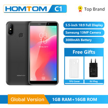 Homtom original c1 1gb ram 16gb rom quad core telefone móvel 5.5 polegada 18:9 display completo 13mp câmera traseira smartphone impressão digital(China)
