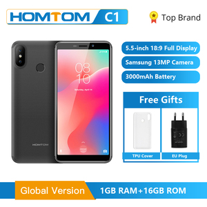 Image 1 - Original HOMTOM C1 1GB RAM 16GB ROM Quad Core Mobile Phone 5.5 inch 18:9 Full Display 13MP Rear Camera Smartphone Fingerprint