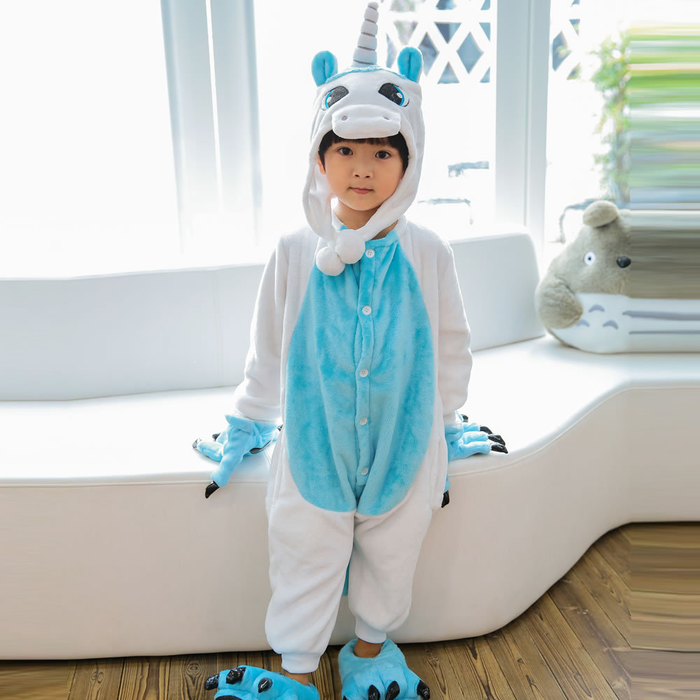Childrens Flannel Pajamas Sets Baby Boys Girls Onesies Cosplay Sleepwear Panda Unicorn Children Household Jumpsuits Clothes New