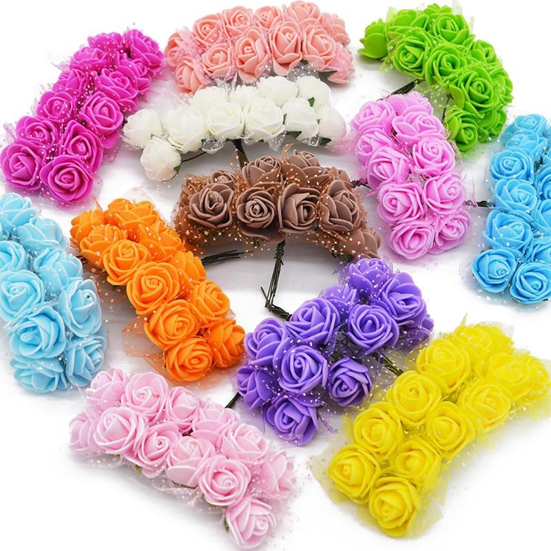 36/72/144pcs Mini Foam Rose Artificial Flowers For Home Wedding Car Decoration DIY Pompom Wreath Decorative Bridal Fake Flower