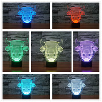 2017 3D Animal Bull Cow USB LED Lamp 7 Colors Change God Cattle Touch Table Night