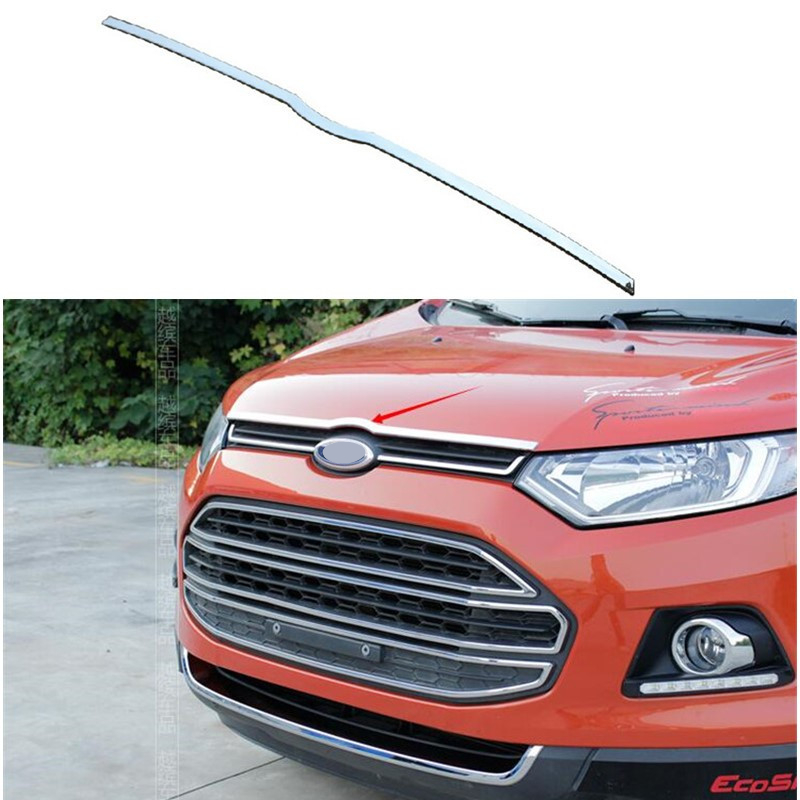 Car Accessory Front Engine Trim Head Bonnet Hood Sill Fit For Ford Ecosport 2013 2014 2015 2016 2017 Abs Chrome Car Styling for suzuki sx4 s cross crossover 2014 2015 2016 stainless steel front hood grill cover bonnet trim cover car styling accessory