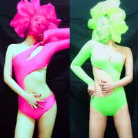new sexy nightclub girl singer DS fluorescent performance bar gogo party lace mask Costume for woman freeshipping