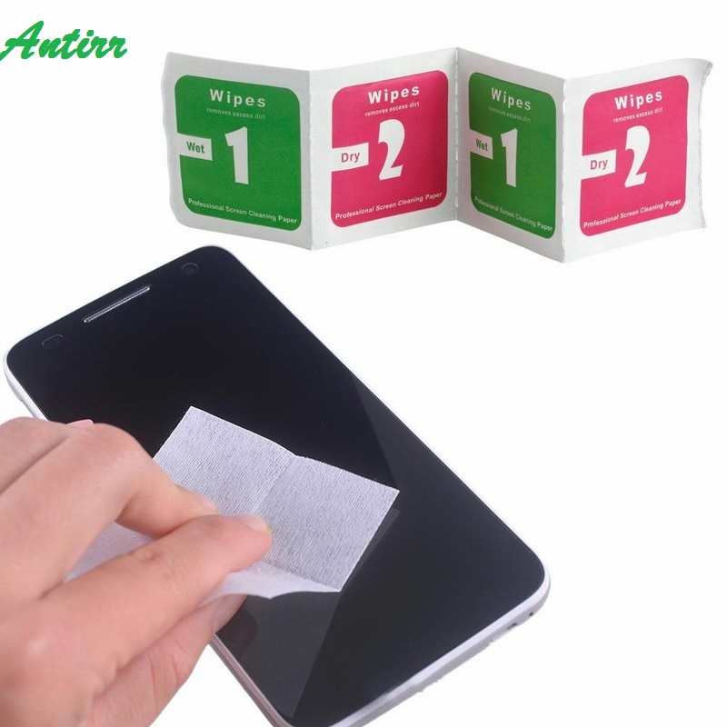 100sets (200pcs) 1+2 Wet Dry Wipes Cleaning Cloth Paper Pad for Tempered Glass Screen Protector Mobile Phone Camera Tablet