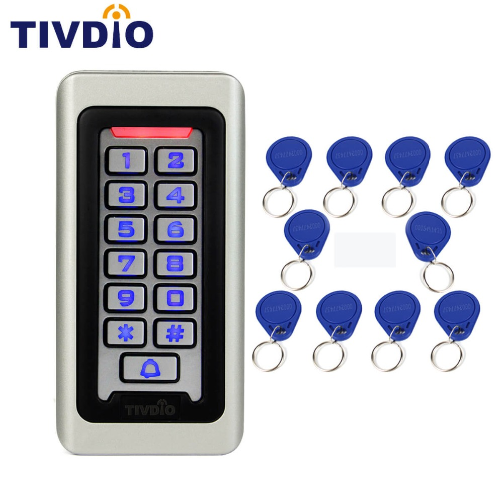 TIVDIO Keypad RFID Access Control System Proximity Card Standalone 2000 Users Door Access Control+20pcs RFID Cards F9501D tivdio door access control system with 4 rfid waterproof em id card