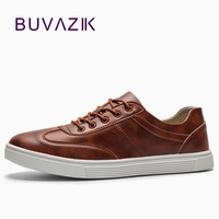 BUVAZIK 2018 men's vulcanize shoes high quality microfiber men snearker for Spring casual flats fashion leather shoes