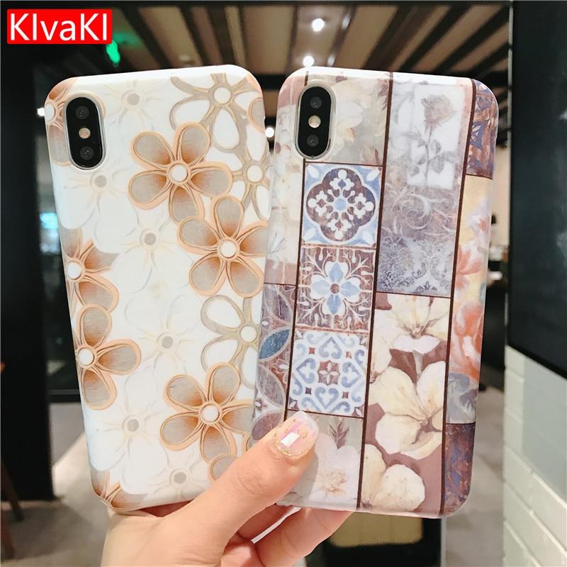 KIzaKI Funny Pattern phone Case Retro Cover TPU Case for iphone 7 Plus 6 6s 7 8 plus X Cases Retro flowers Silicone soft Cover