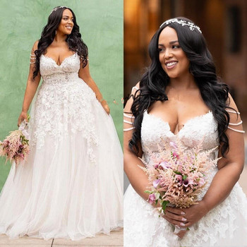 Plus Size Wedding Dresses 2019 V Neck Lace Appliques Off the Shoulder Bridal Wedding Gowns Custom Made vestido de noiva