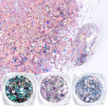 8 Uds. De lentejuelas de uñas de colores, purpurina en polvo, escamas hexagonales irregulares de sirena, decoración de uñas artísticas, JI1506 08 de esmalte de Gel UV