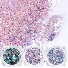 8 adet renkli tırnak pul Glitter toz altıgen düzensiz gevreği Mermaid Nail Art madeni pul süsleme UV jel lehçe JI1506 08