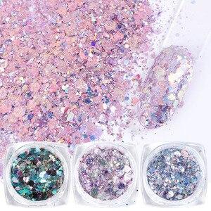Image 1 - 8pcs Colorful Nail Sequins Glitter Powder Hexagon Irregular Flakes Mermaid Nail Art Paillette Decoration UV Gel Polish JI1506 08