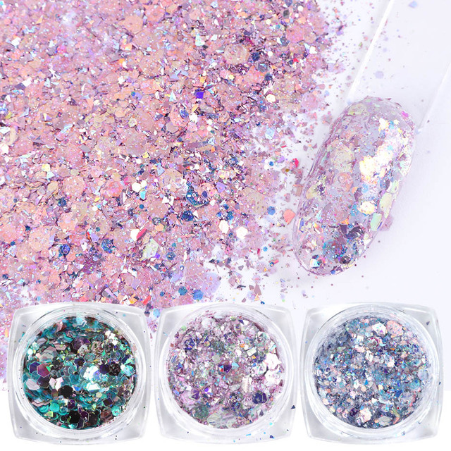 8pcs Colorful Nail Sequins Glitter Powder Hexagon Irregular Flakes Mermaid Nail Art Paillette Decoration UV Gel Polish JI1506 08