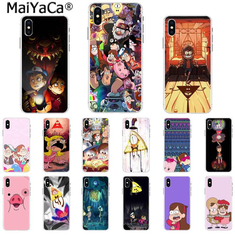 6d6344eff78 MaiYaCa dibujos animados gravedad caídas Anime pintado TPU suave silicona  negro Funda de teléfono para iPhone