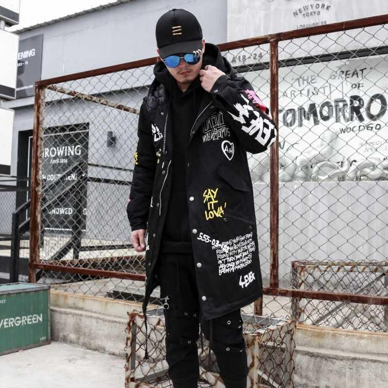 2019 ヒップホップロングが詰め厚い上着冬メンズ新パーカージャケットグラフィティプリントフード付きの綿キルトコート高ストリート