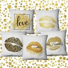 Modern Golden Kiss Decorative Sofa Cushion Covers Cotton Linen Nordic Wedding Sexy Lips Printed Pillowcase for Car Driver Seat