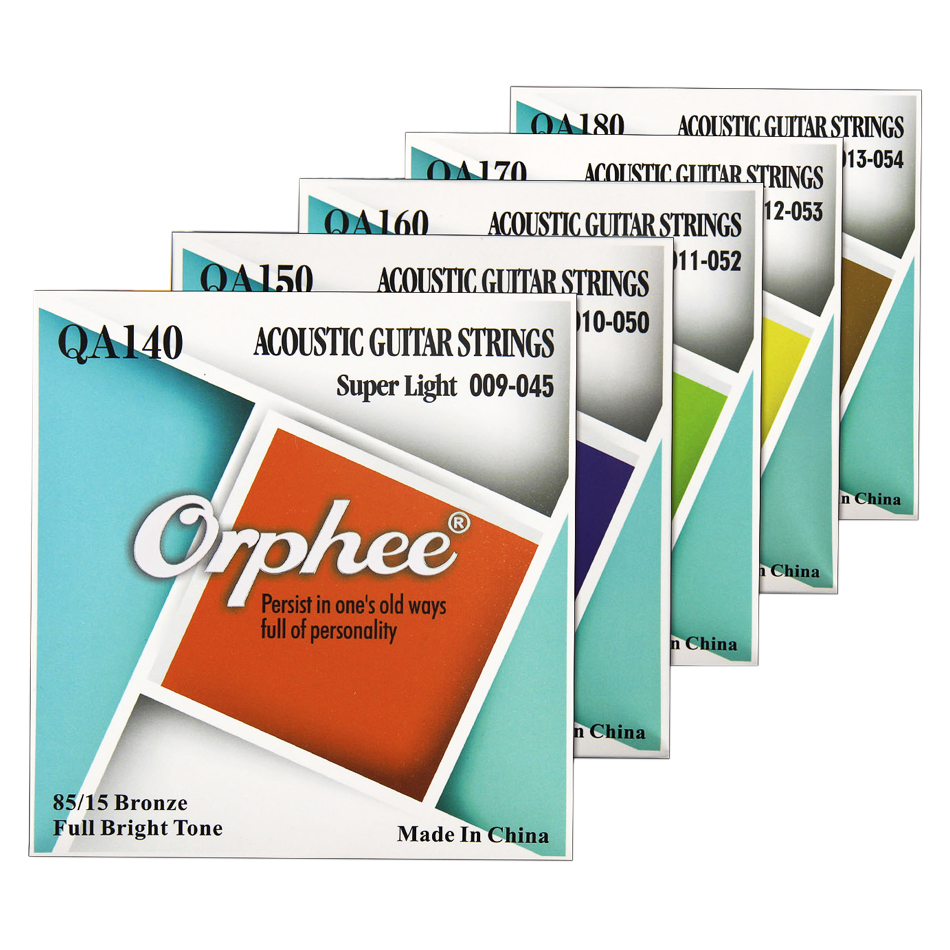 Orphee High Quality QA Series Medium Super Light Extra Light Acoustic Guitar Strings 85/15 Bronze Color End-Ball