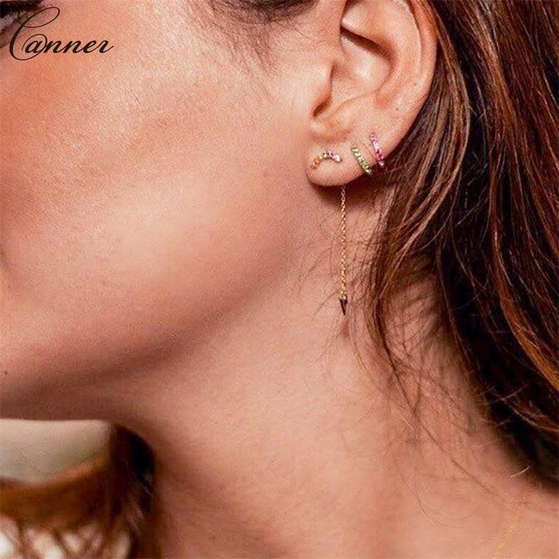 CANNER Long Tassel Earrings for Women Gold Color Chain Earings 2019 Zircon Lightning Earrings 925 Sterling Silver Jewelry Q40