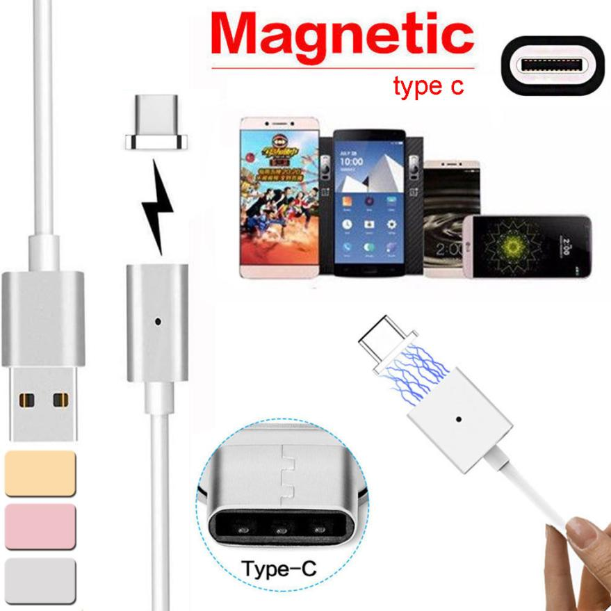 Max 2.4A 1PC Magnetic USB Charger Cord Sync Data 123cm Cable Type-C Micro USB For Android For HTC 10 For Huawei P9 V8