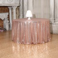 132 Inches Rose Gold Wedding Sequin Tablecloth 132 inch Round Party Glitter Table Cloth Shimmer Table Linens for Home Decoration