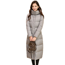Knee-Length 2016 New Winter Down Jacket Women Long Padded Thicken Warm Coat Female Duck Down Padded Parkas Mujer Femme YC474