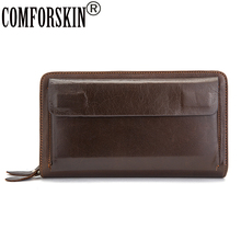 Large Capacity Double Compartments Zippers Handheld Style 100% Cow Leather Vintage Long Business Men Organizer Wallets Purses