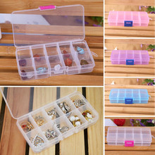 4 Colors 10 Grids Compartment Adjustable Jewelry Tool Necklace Hard Transparent Plastic Storage Box Case Holder Craft Organizer