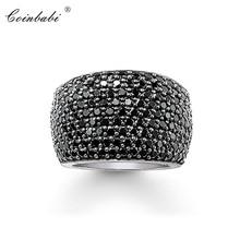 Коктейльные кольца, черные, CZ, проложенные, широкие, 925 пробы, серебряные, подарок для женщин и мужчин, Томас Стиль Rebel, кольцо TS, модное ювелирное изделие