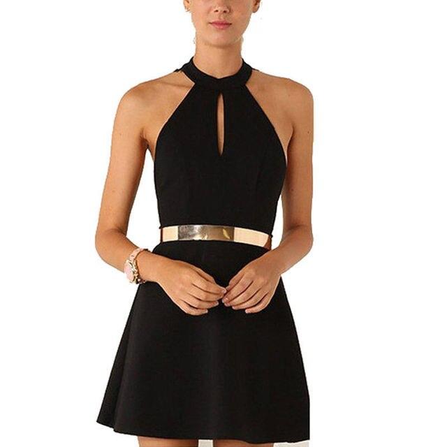 6549cc470e9 Hot Elegant Women Solid Black Mini Dress Sexy Halter Neck Sleeveless Back  Lace Print Gold Belt Bodycon Dresses-in Dresses from Women s Clothing on ...
