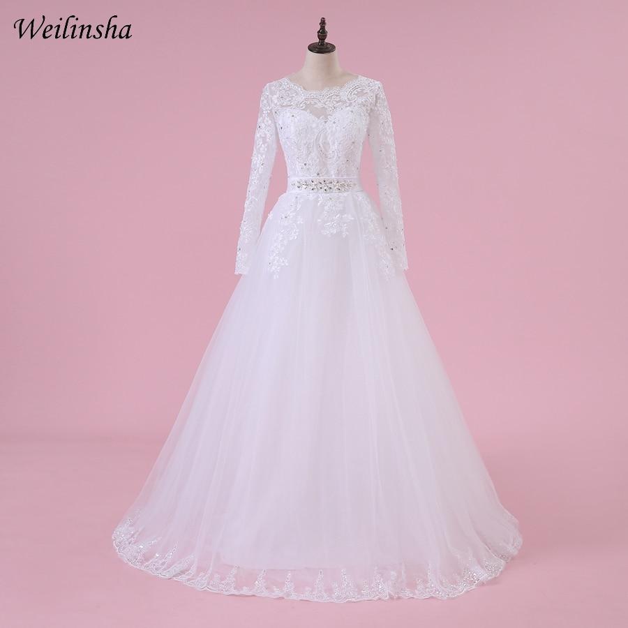 Weilinsha gyönyörű arab muszlim esküvői ruha hosszú ujjú aplikák A-vonalú menyasszonyi ruhák finom csipke Vestido de Noiva