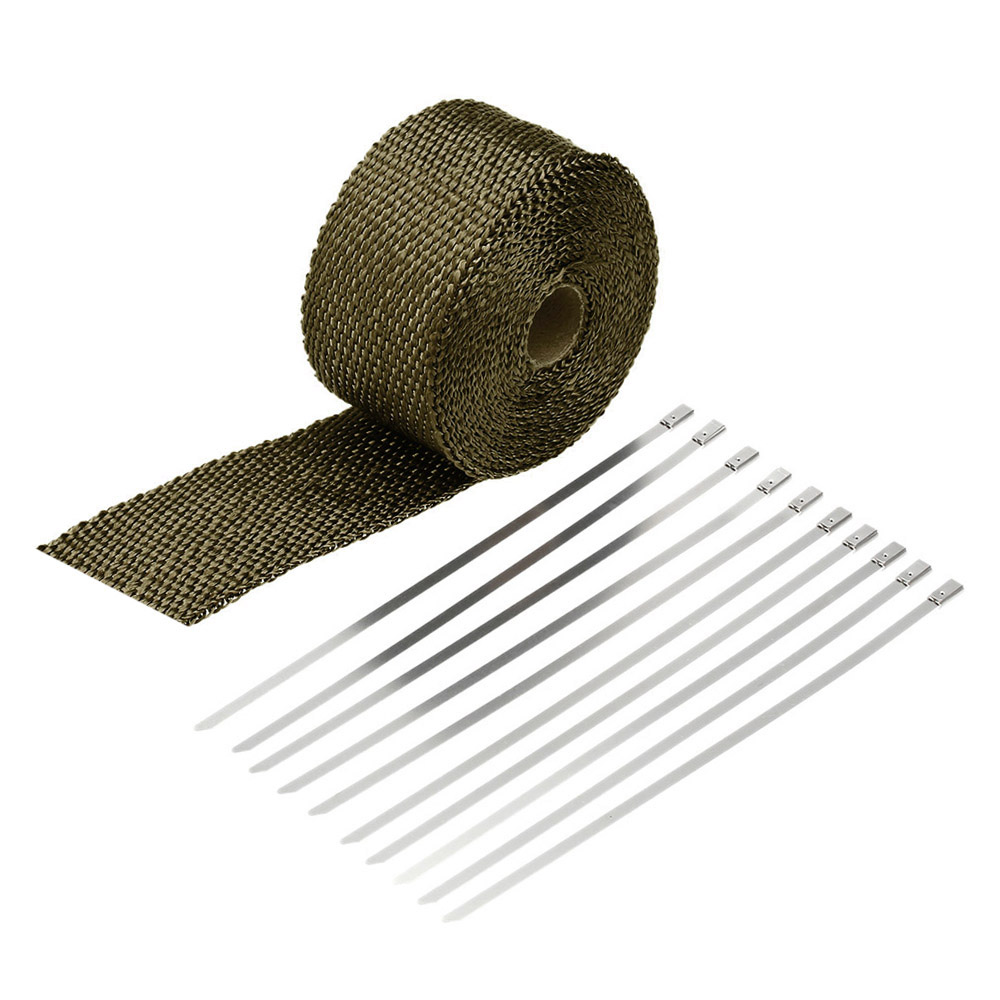 5m Exhaust Heat Wrap Turbo Pipe Heat Insulated Wrap 20cm Cable Ties for Car Motorcycle