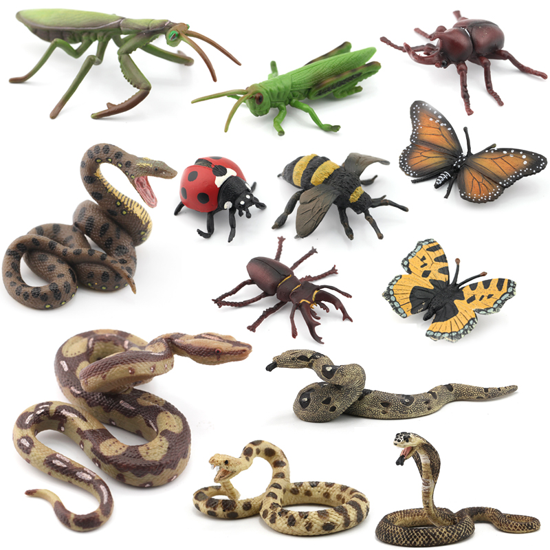 Original Animal Figures 10 Insects Bee Pamphobeteus Funnel Web Spider Scorpion Rhinoceros Beetle Ladybug Locusts Model Kids Toys