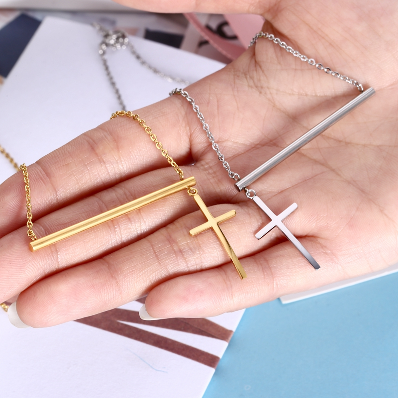 New Design Stainless Steel Jewelry Set Gold Bar Cross Pendant ...