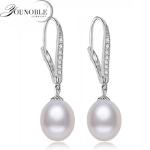 Real Freshwater Pearl Earring Sterling Silver 925 Jewelry,Drop Natural Pearl Earrings Wedding Girl Birthday Best Gift White Pink