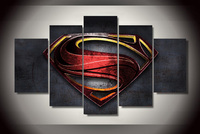 Framed 5 Pieces Steel Superman Painting Canvas Wall Art Picture Home Decoration Living Room Canvas