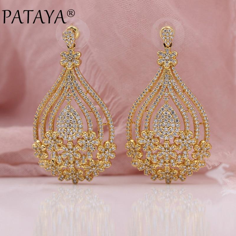 PATAYA New Water Drop Shape Flower Natural Zircon Stud Earrings 585 Rose Gold Women Wedding Party Luxury Noble Exquisite Jewelry стоимость