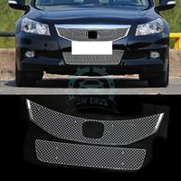 For Honda Accord 8th 2011 2015 Upper Lower Hood Honeycomb Grill Grilles Cover