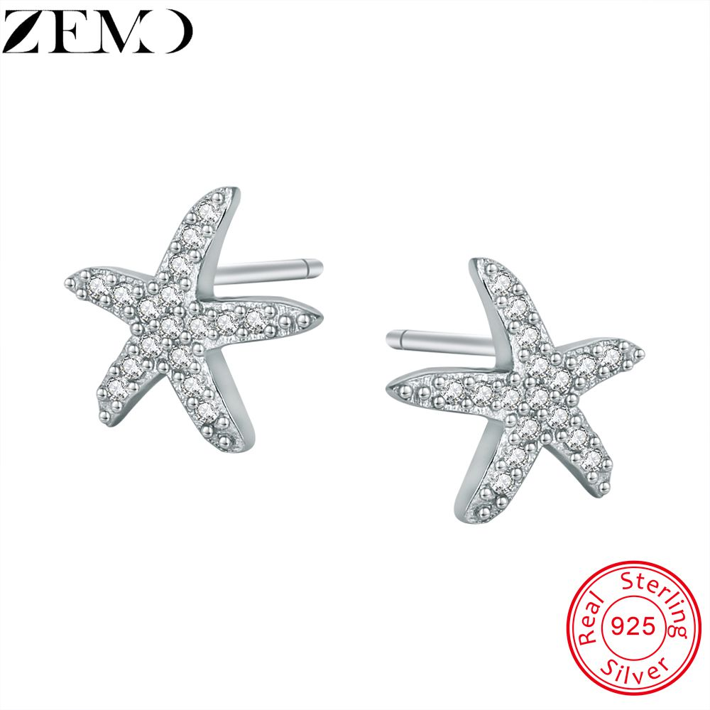 ZEMO 925 Silver Earring Studs Animal Starfish Ear for Women 2pcs Stud Earrings with  AAA Zircon Wife Daughter Mom