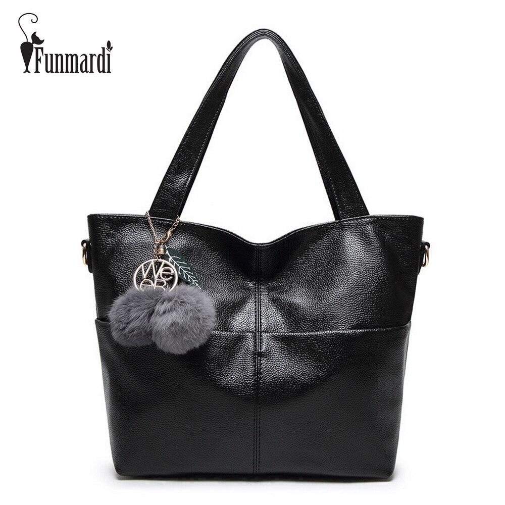 Funmardi Moda Casual cuero de LA PU bolsos de las mujeres del diseño simple de c