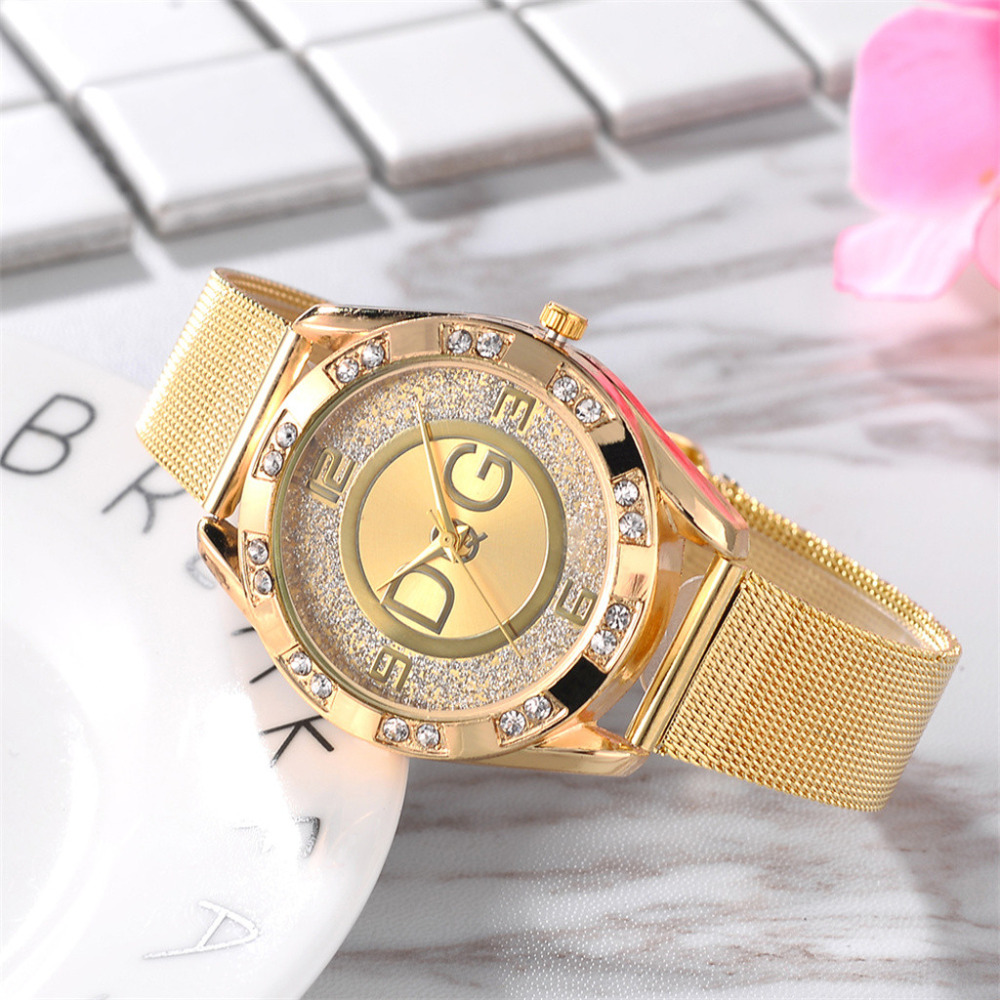 DQG Reloj Mujer Double Drill Outer Ring Sand Drill Face 4 Scale Mesh Belt Watches Round Fashion Crystal Stainless Steel Watch *A