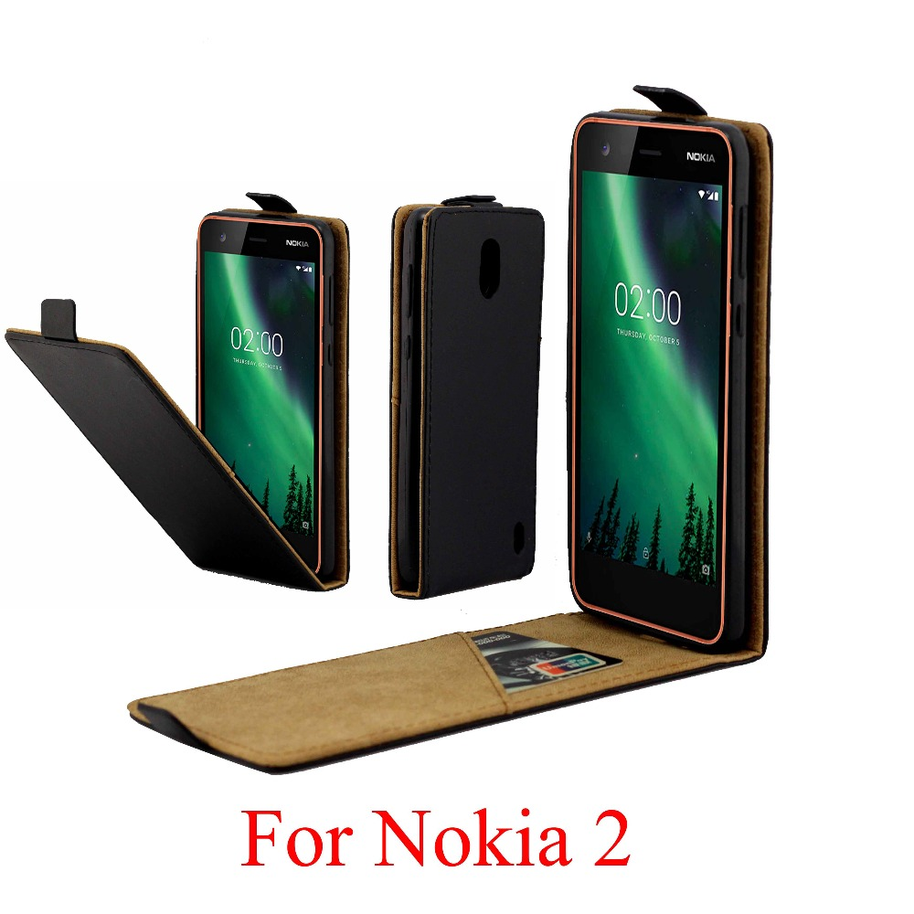For Nokia 2 Cover Nokia2 Luxury PU Leather Flip Case Vertical Open Down Up
