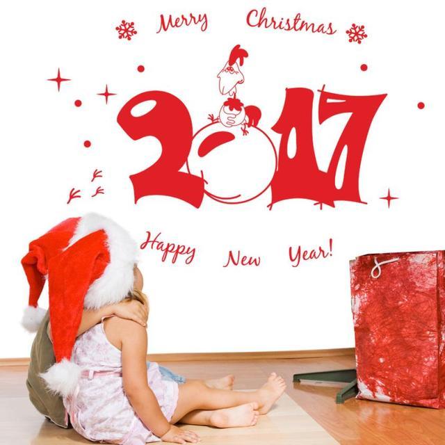 OC 18 Mosunx Бизнес 2016 Горячий Продавать Груза падения Новый 2017 год Рождеством Стикер Стены Главная Магазин Окна Отличительные Знаки декор