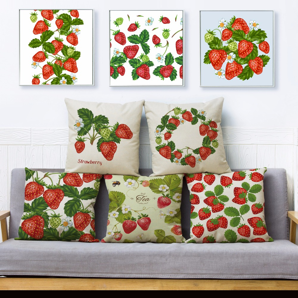 Brave Fresh Strawberry Print Throw Pillow Cover 45*45cm Square Cushion Covers Cotton Linen Pillows Cases Sofa Home Decor Pillow Case