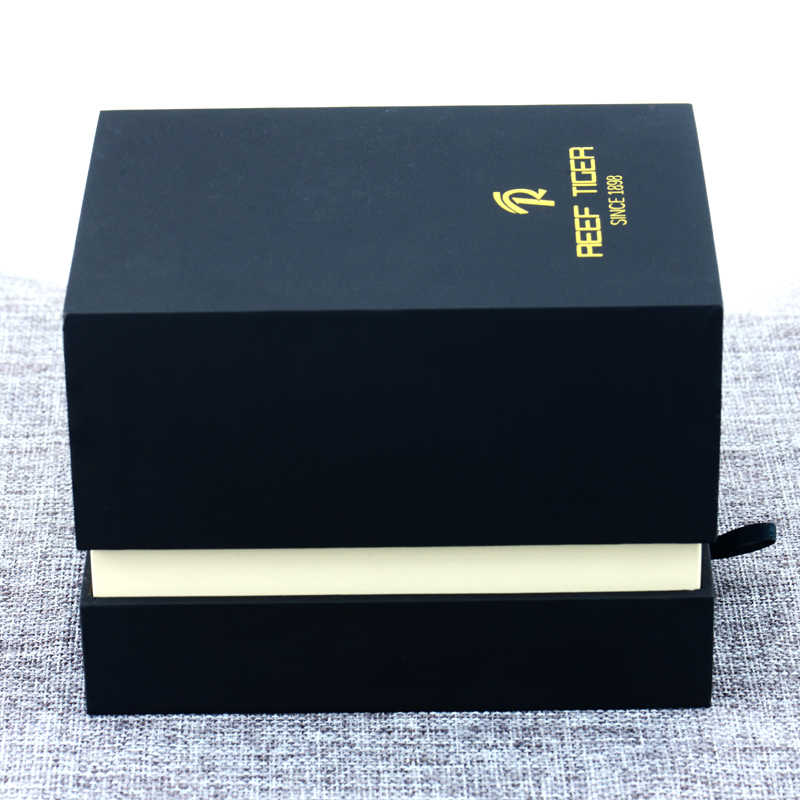 Recife Tigre Preto Caso de Embalagem Caixa de Presente Para O Relógio de Vestido Das Mulheres Dos Homens Forma de Retângulo Caixa de Relógio Original