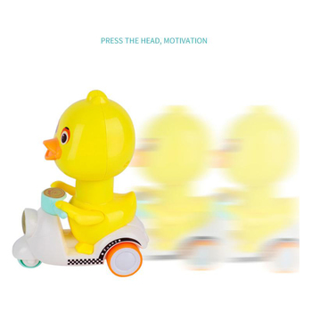 Happy Duck Diecast Car Toy ABS Mini Cartoon Cute Pull Back Motorcycle Gift Toys For Children Birthday gift do not Need Batteries image