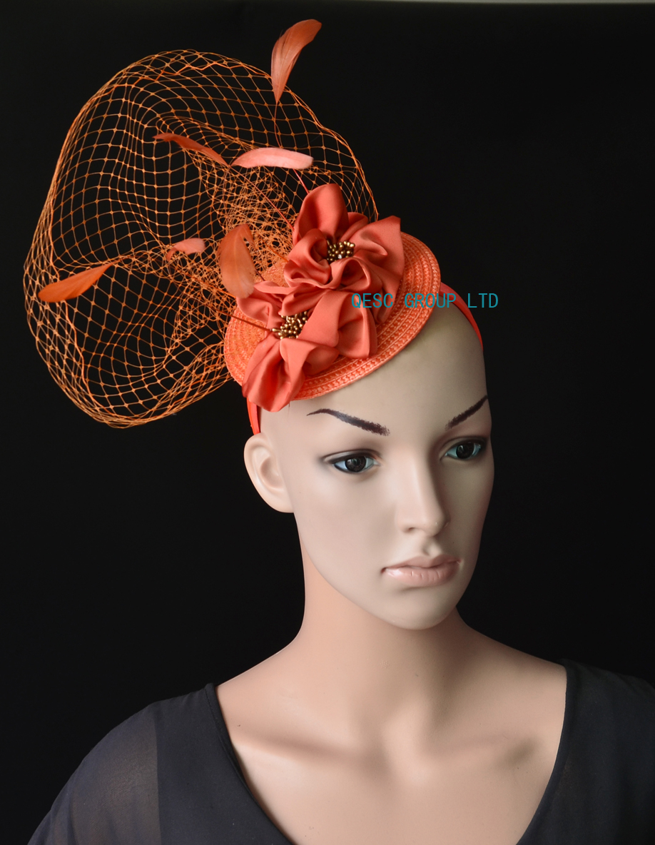 NEW Wholesale Rusty orange veiling fascinator kentucky derby hat with  feathers handmade flower for wedding race.FREE SHIPPING-in Fedoras from  Apparel ... 58d7eb99da4