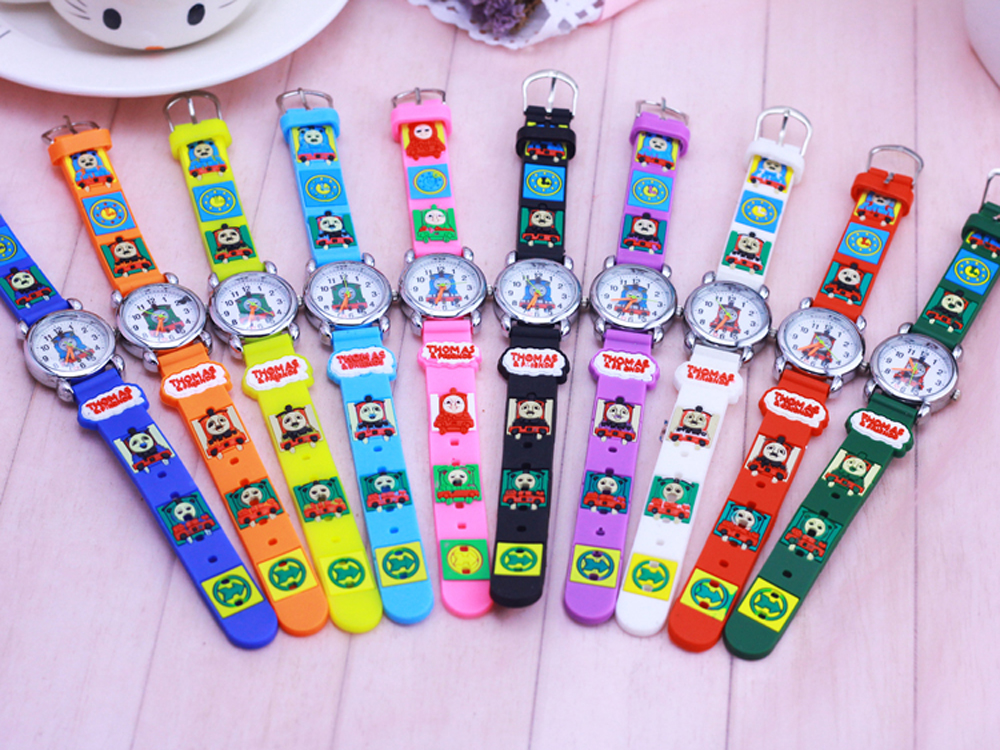 цена на 10pcs Thomas 3D Cartoon Lovely fashion Kids Girls Boys Children Students Quartz Wrist Watch watches style relogio clock