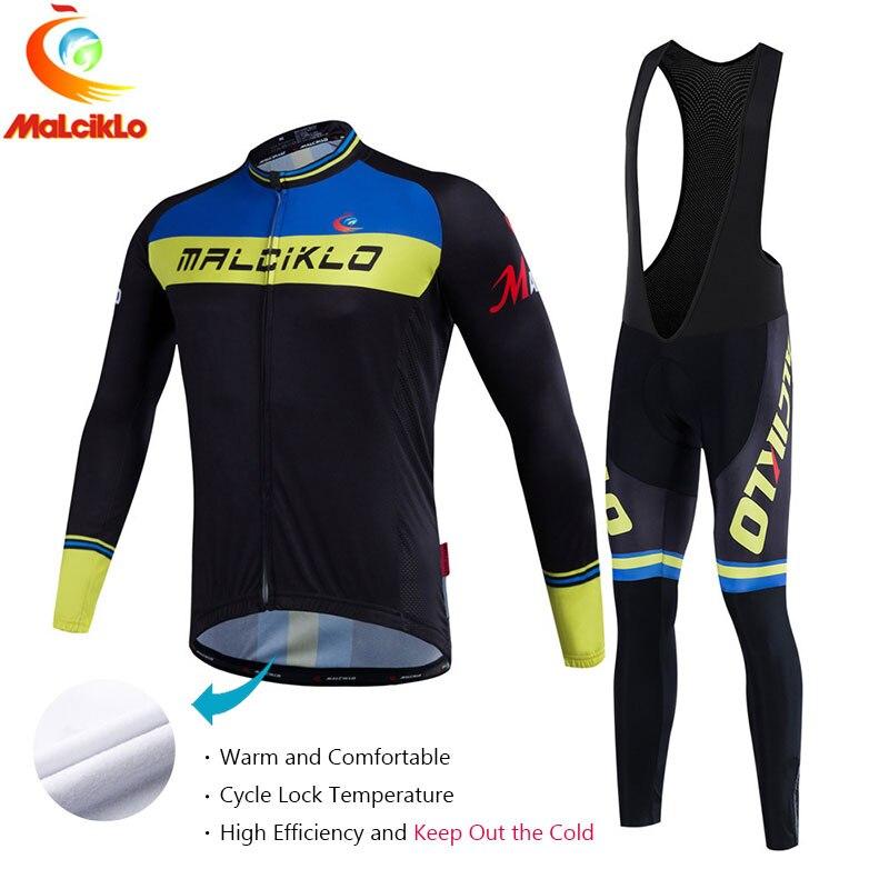 Malciklo 2017 Pro Fabric Cycling Winter Thermal Fleece Jersey Long Set Ropa Ciclismo Bike Bicycle Clothing