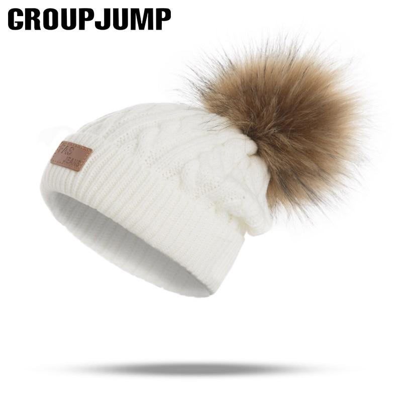 Fashion Pompoms Winter Hat Children Knitted Winter Hats Girls Knit Winter Caps Beanies Kids Warm Hats Skulllies Beanies