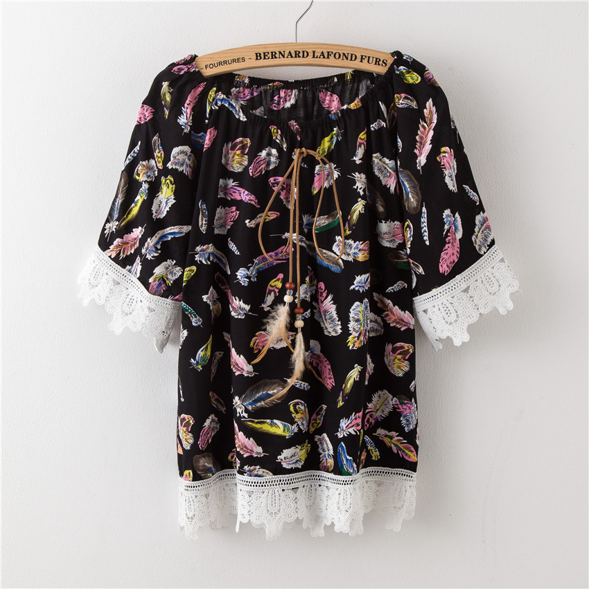 New Blouse Shirts Women Totem Printing Clothes Sexy Off Shoulder Vintage Bow Sleeve Top Street Fashion Summer Shirts