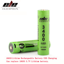 USB 18650 3400mah Li-ion 3.6V Rechargeable Battery for flashlight,camera can replace 3.7V
